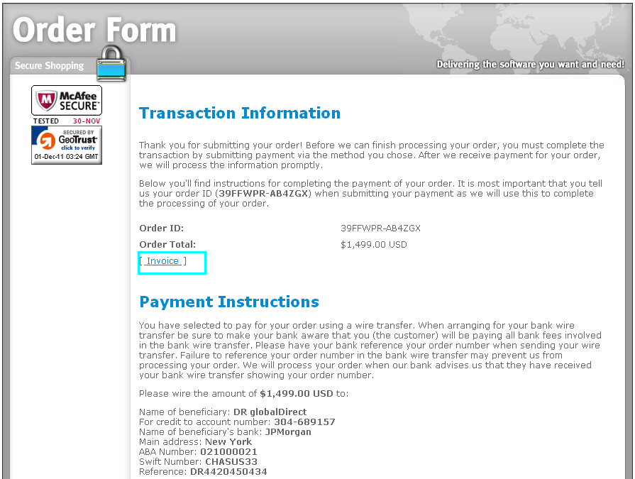 how to place your order by bank wire transfer